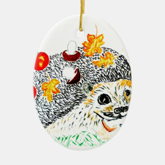 Cute Hedgehog Drawing Ceramic Ornament