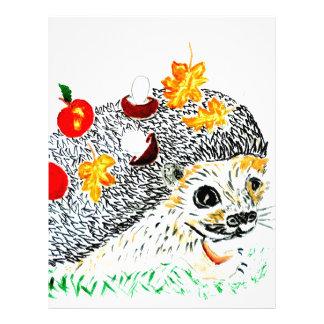 Cute Hedgehog Drawing Letterhead
