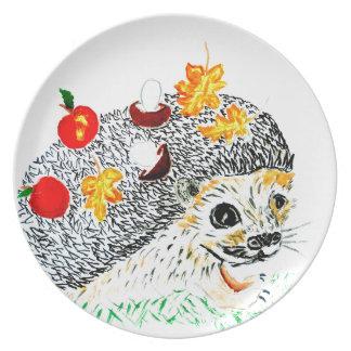 Cute Hedgehog Drawing Plate