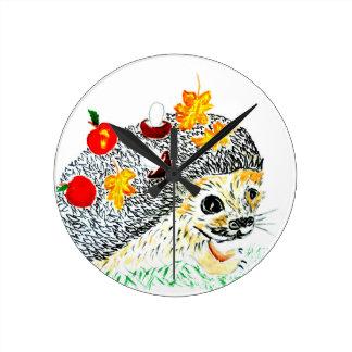 Cute Hedgehog Drawing Round Clock