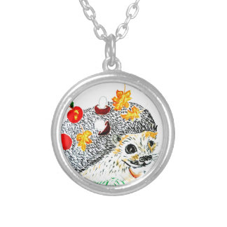 Cute Hedgehog Drawing Silver Plated Necklace