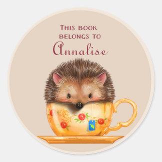 Cute hedgehog in a Mug Book Name Plate Classic Round Sticker