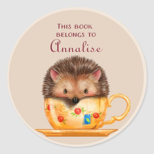 Cute hedgehog in a Mug Book Name Plate Classic Round Sticker