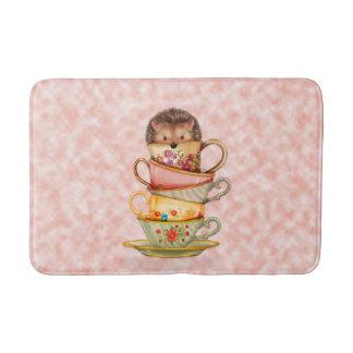 Cute Hedgehog in Stack of Colorful Mugs Bath Mat