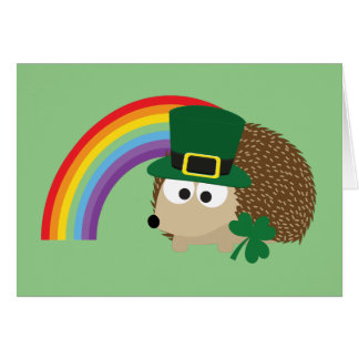 Cute Hedgehog Leprechaun Card