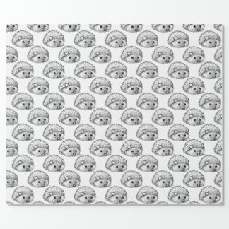 Cute Hedgehog Matte Wrapping Paper, 30 in x 6 ft Wrapping Paper