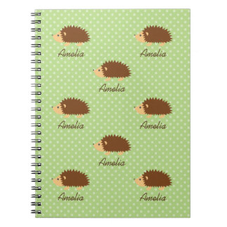 Cute hedgehog notebook with polka dots pattern