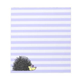 Cute Hedgehog Notepad - Blue Stripe