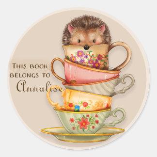 Cute Hedgehog on Stack of Mugs Book Name Sticker