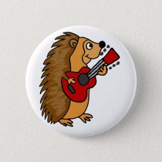 Cute Hedgehog Playing Guitar Art 2 Inch Round Button