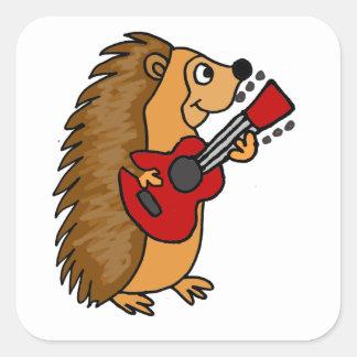 Cute Hedgehog Playing Guitar Art Square Sticker