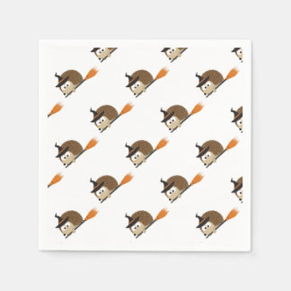 Cute Hedgehog Witch Disposable Napkins