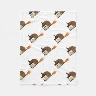 Cute Hedgehog Witch Fleece Blanket