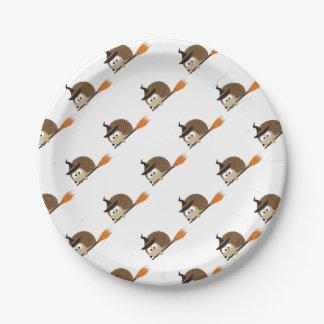 Cute Hedgehog Witch Paper Plate