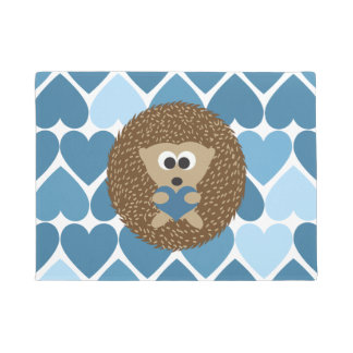 Cute Hedgehog with Blue Heart Background Doormat