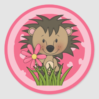 Cute Hedgehog With Flower and Hearts Classic Round Sticker