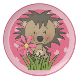 Cute Hedgehog With Flower and Hearts Plate