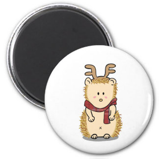 Cute Hedgehog with Reindeer Hair band Magnet
