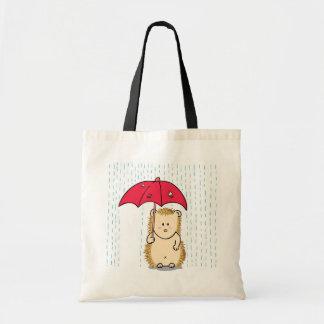 Cute hedgehog with torn umbrella tote bag