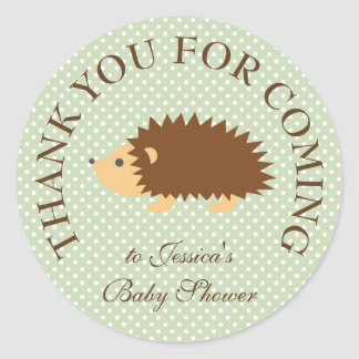 Cute hedgie hedgehog thank you baby shower sticker