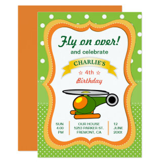 Cute Helicopter Kids Birthday Party Invitation