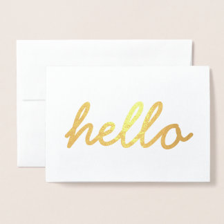Cute Hello Gold Foil Invitation Card