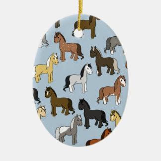 Cute Herd of Horses Ceramic Ornament