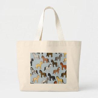Cute Herd of Horses Large Tote Bag