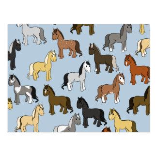 Cute Herd of Horses Postcard