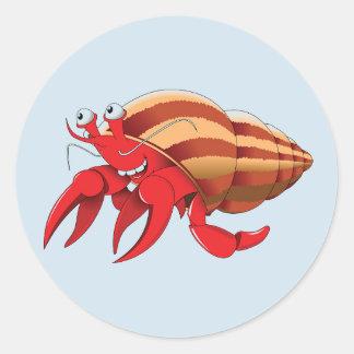 Cute Hermit Crab Round Sticker