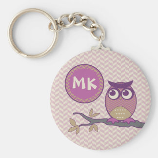 Cute Herringbone Owl Trendy Orchid Purple Moon Keychain