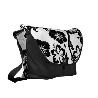 cute hibiscus,black and white floral commuter bags