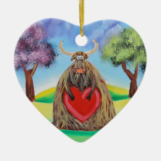 Cute Highland cow with a heart Gordon Bruce Ceramic Ornament
