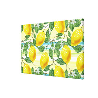Cute Hip Tropical Summer Lemon Fruit Pattern Canvas Print