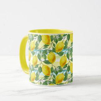 Cute Hip Tropical Summer Lemon Fruit Pattern Mug