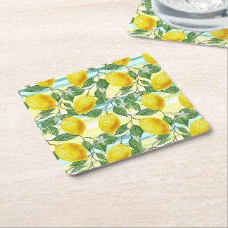 Cute Hip Tropical Summer Lemon Fruit Pattern Square Paper Coaster