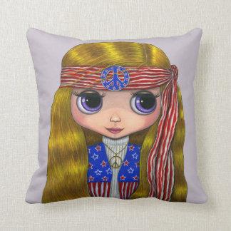 Cute Hippie Chick Peace Sign Headband Stars Stripe Throw Pillow