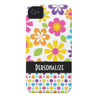 cute hippie colorful floral pattern Case-Mate iPhone 4 case