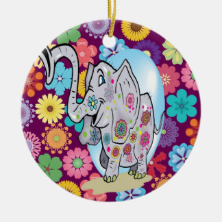 Cute Hippie Elephant with Colorful Flowers Ceramic Ornament