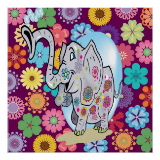 Cute Hippie Elephant with Colorful Flowers Poster