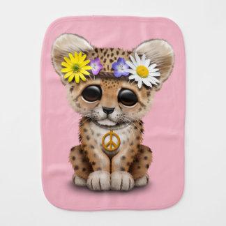 Cute Hippie Leopard Cub Baby Burp Cloth