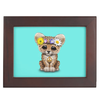 Cute Hippie Leopard Cub Keepsake Box