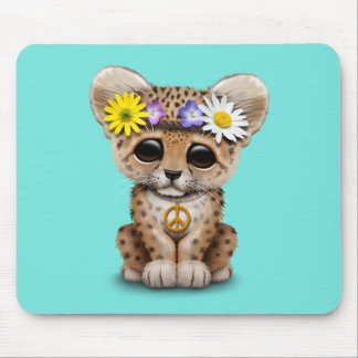 Cute Hippie Leopard Cub Mouse Pad