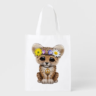 Cute Hippie Leopard Cub Reusable Grocery Bag