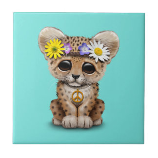Cute Hippie Leopard Cub Tile