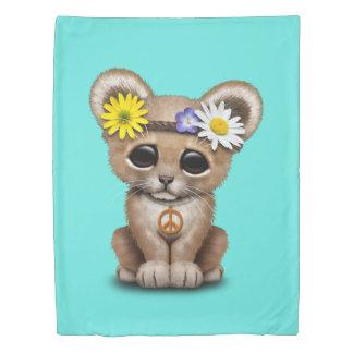 Cute Hippie Lion Cub Duvet Cover