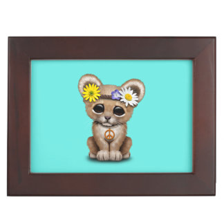 Cute Hippie Lion Cub Keepsake Box