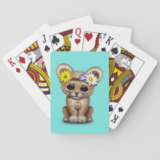 Cute Hippie Lion Cub Playing Cards