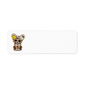 Cute Hippie Lion Cub Return Address Label