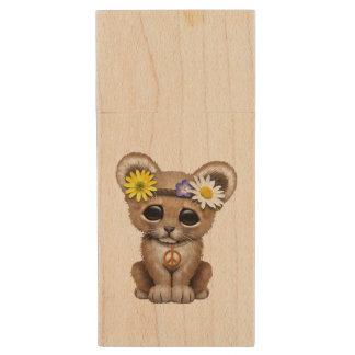 Cute Hippie Lion Cub Wood USB Flash Drive